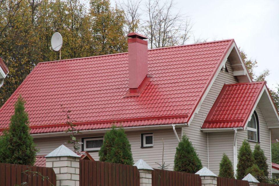 крыша из вишневого профнастила картинки и фото цены