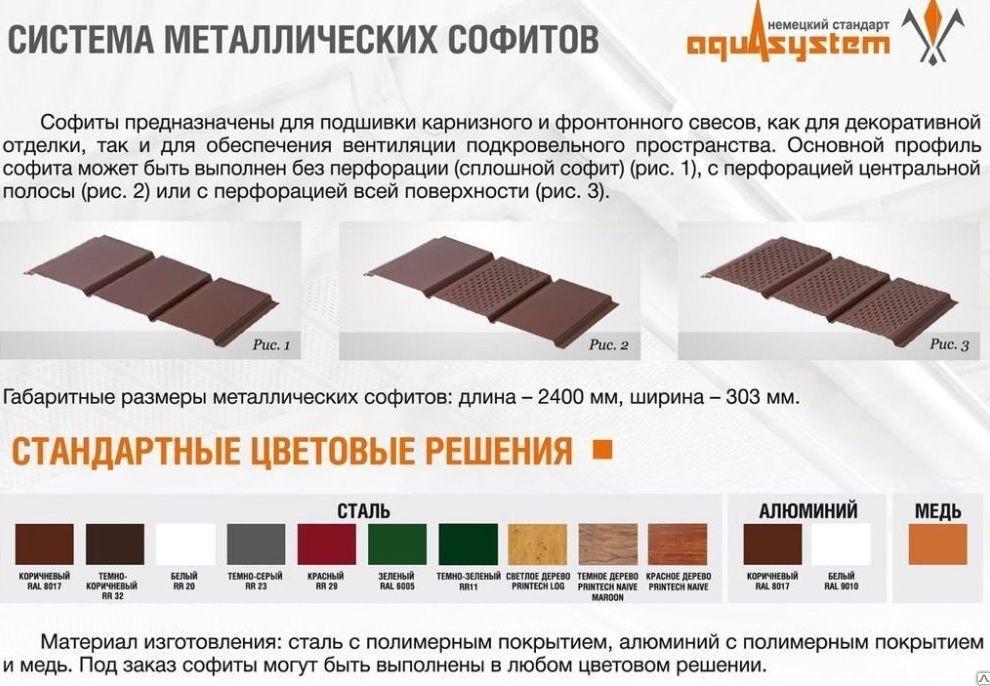 софит металлический размеры